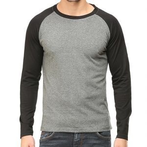 Men's Raglan Full Sleeve T Shirt - Black Charcoal