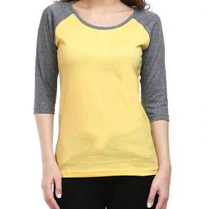Women's Raglan 3/4th Sleeve T Shirt - Yellow Charcoal