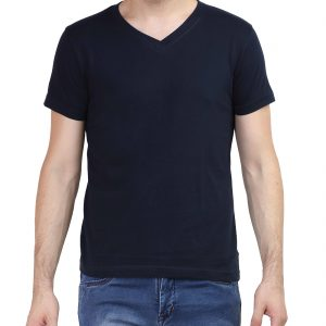Men's V Neck Half Sleeve Black T Shirt
