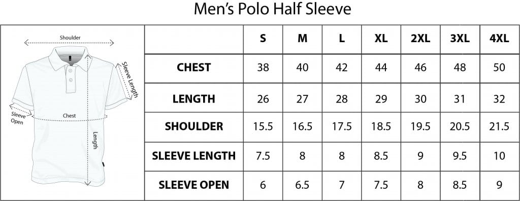 QIKINK MEN'S POLO HALF SLEEVE SIZE CHART