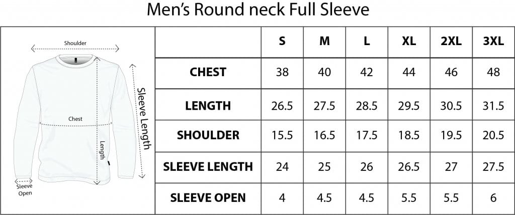 QIKINK MEN'S FULL SLEEVE SIZE CHART