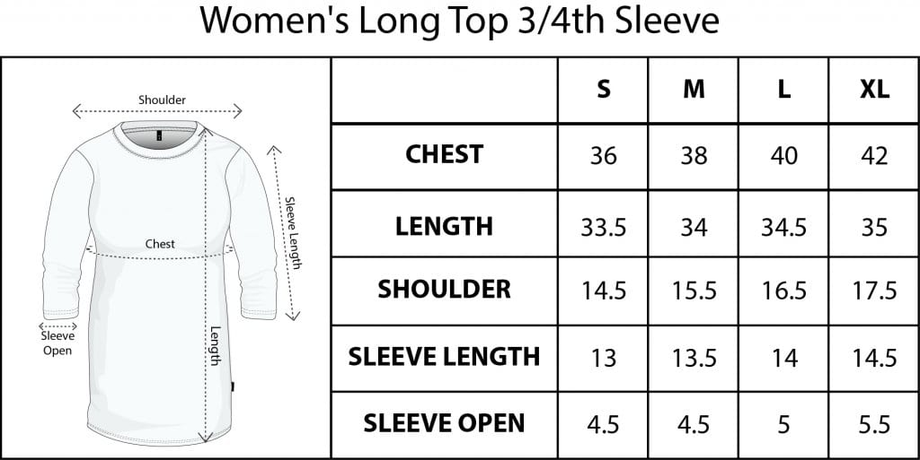 QIKINK WOMENS long top FULL SIZE size chart